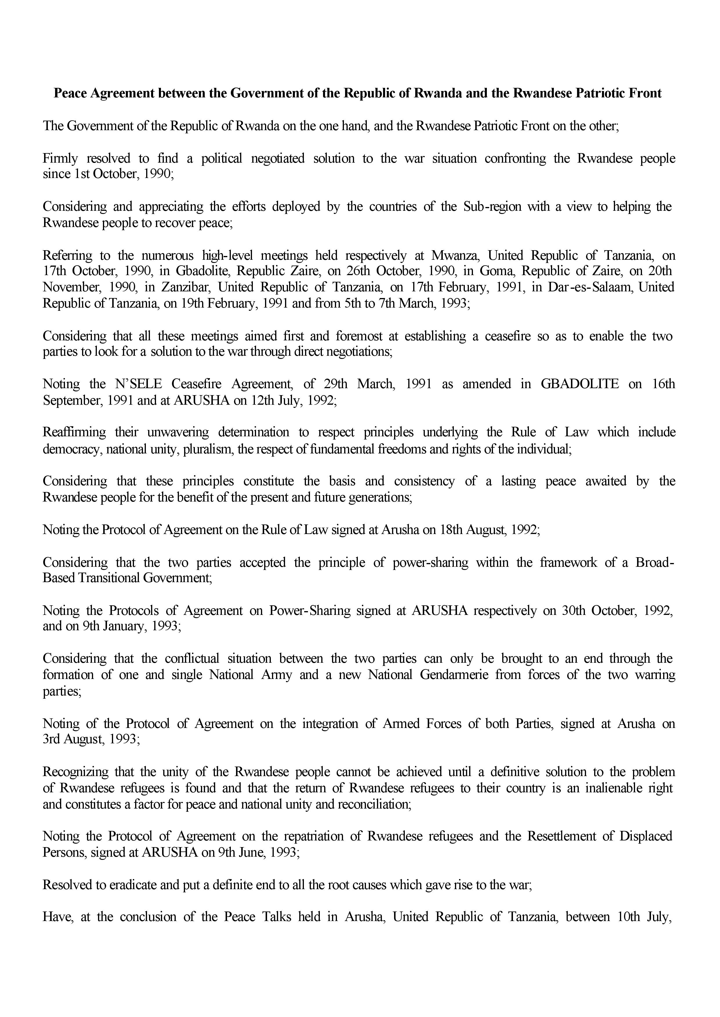 Arusha peace agreement between the government of the republic of accords d arusha rwanda et fpr page 001 platinumwayz
